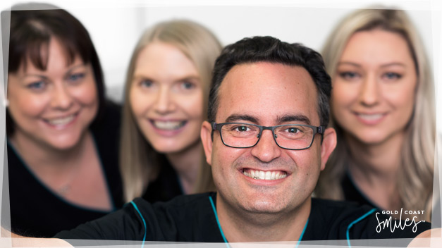 Dr Nick and dental team taking a selfie in the Gold Coast Smiles clinic