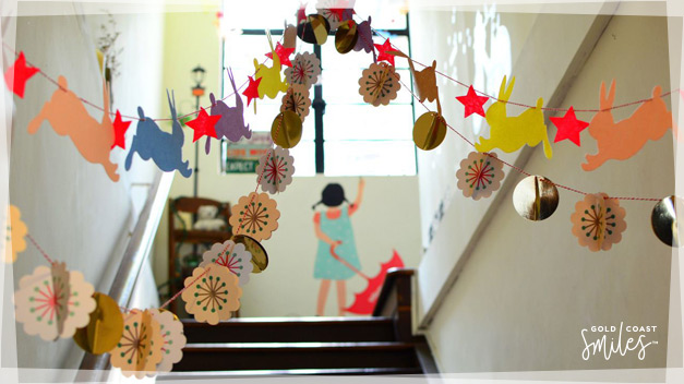 School hallway with colourful children decorations