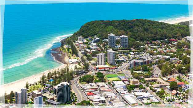 Beautiful ariel view of Burleigh Heads, Gold Coast